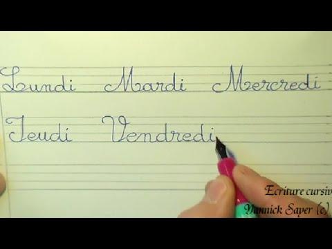 Ecriture cursive française cp ce1 ce2 : apprendre à écrire les jours