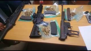 Los fusiles y las municiones ocupadas a banda de asaltantes en Santiago