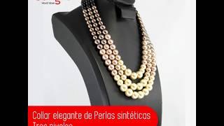 Collar elegante de Perlas sintéticas Tres niveles