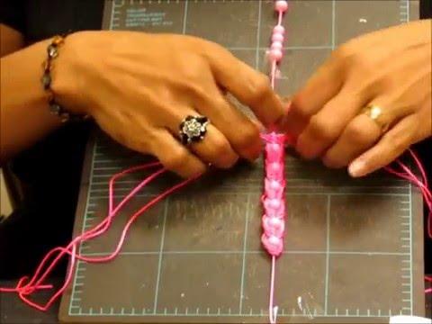 macramè - braccialetto triplo con perle