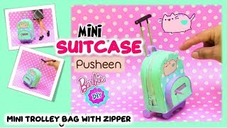 DIY Mini Suitcase for Doll/Dollhouse Accessories Miniature Barbie Rolling Luggage