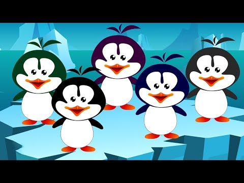 Fünf kleine Pinguine   auf das Bett springen   Kinderreime   Kinder Reim   Five Little Penguin