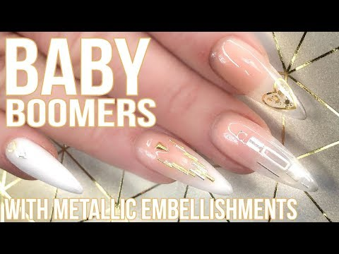 Acrylic nails - Baby Boomer Full Look - With Encapsulated Metallic Embellishments