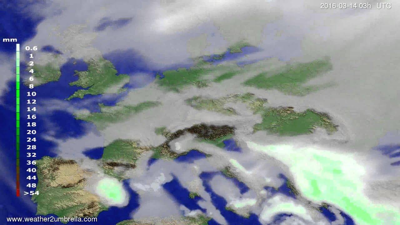 Precipitation forecast Europe 2016-03-11