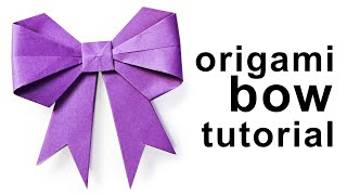 Origami - How to make a paper Bow/Ribbon - YouTube
