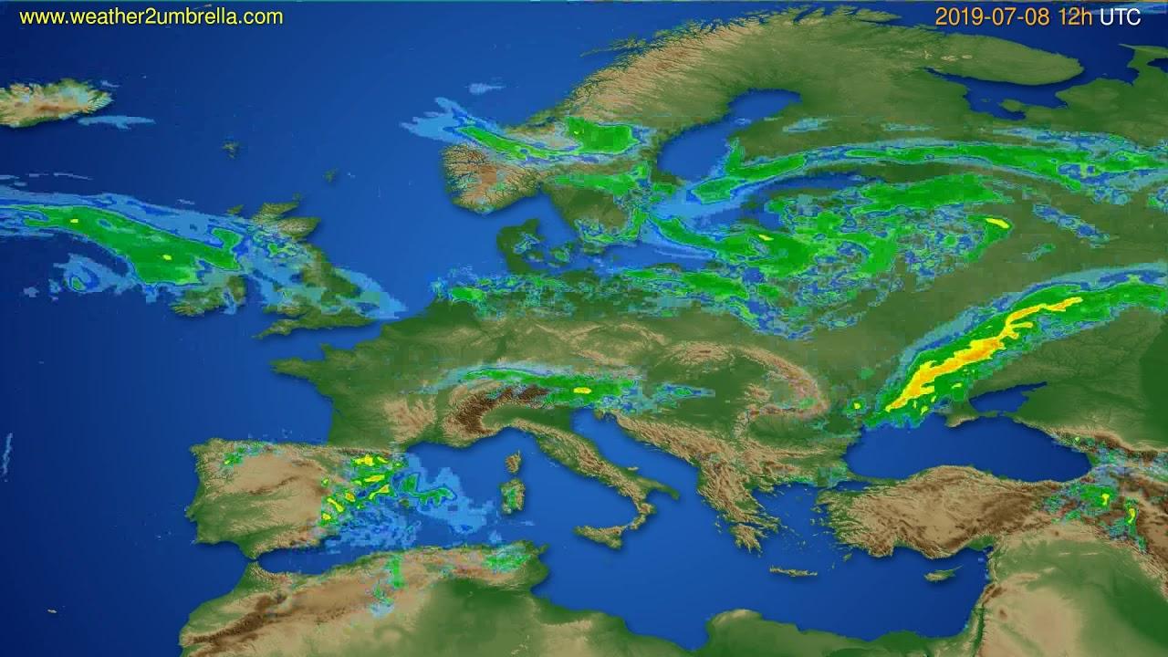 Radar forecast Europe // modelrun: 00h UTC 2019-07-08