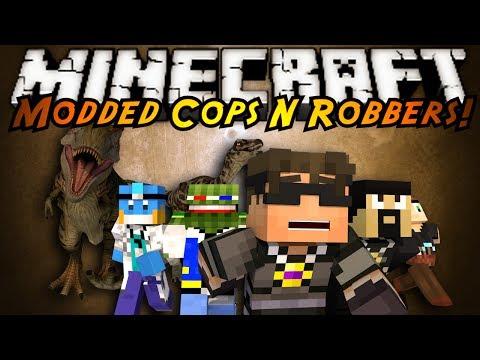 Minecraft Mini-Game : MODDED COPS N ROBBERS! JURASSIC PARK!