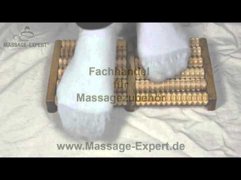 Fuß-Massageroller mit 12 Noppenrollen aus Holz