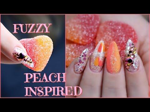 Gel nails - GEL NAIL TUTORIAL  FUZZY PEACH HEARTS INSPIRED