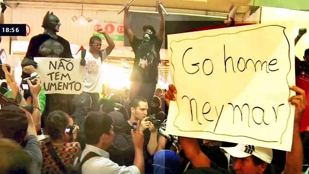 Video Go Home Neymar HD Brazil WORLD CUP Protests in A METRO TUBE STATION