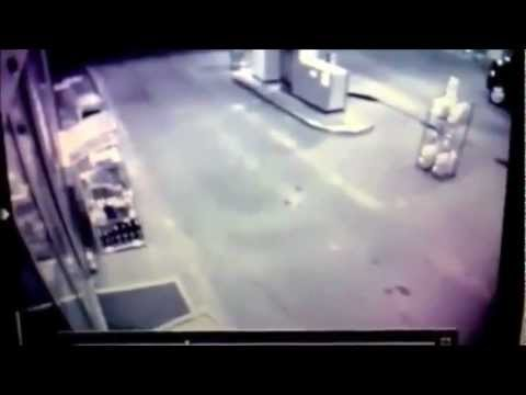 Drunk Man Runs Into Gas Station Doo
