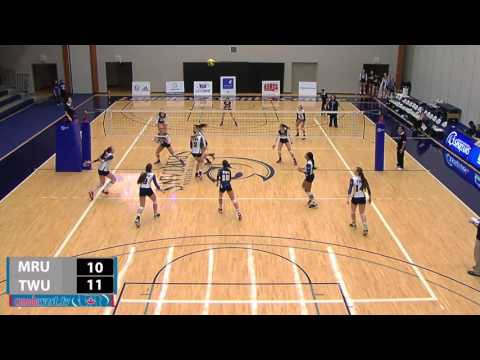 2015-11-27 TWU Women's Volleyball Highlights vs Mount Royal