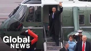 Barack and Michelle Obama wave goodbye to Washington