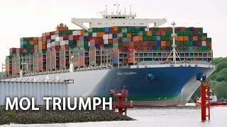Erstanlauf der MOL Triumph in Hamburg am 15. Mai 2017. Mit einer möglichen Zuladung von 20.170 TEU und einer Vermessung von 199.000 BRZ ist die MOL Triumph das größte Containerschiff, das jemals den Hamburger Hafen angelaufen hat.Länge: 400 mBreite: 58,8 mTiefgang: 16 mVermessung: 199.000 BRZAbonnieren: https://www.youtube.com/channel/UCrCLYgLx7x52o0Otv-8BZpg?sub_confirmation=1Facebook: https://www.facebook.com/HD1080ideTwitter: www.twitter.com/HD1080ide