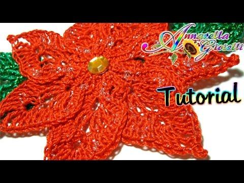 Tutorial stella di Natale all'uncinetto   How to crochet a poinsettia