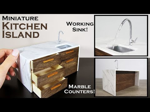 DIY Miniature - Kitchen Island (working sink!)