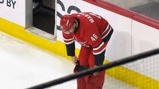 Jordan Martinook adjusts pants after malfunction by NHL