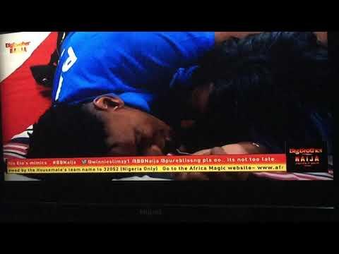 BB naija housemates Diane and Elozonam being intimate