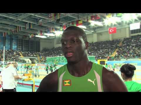 Kirani James talks after 400 final at World Indoors 2012