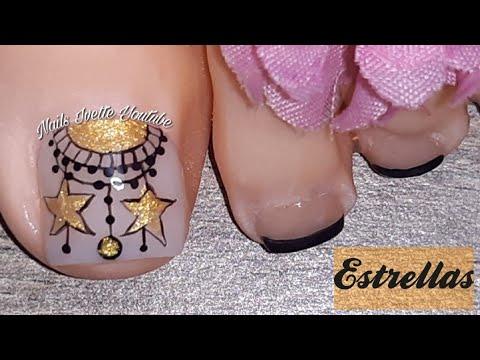 Decoracion de uñas - Decoración de uñas PIE/ Modelo de uñas para pie/uñas decoradas con Estrellas doradas