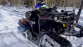10. Can Am 1000 Outlander ATV On Tracks Out On Firewood Duty - Mar 17, 2018