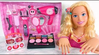 Download Video Raksasa Boneka Barbie Rambut & Makeup Kosmetik Mainan set MP3 3GP MP4