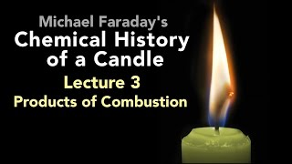 "Bill Hammack presents Lecture Three of Michael Faraday's lectures on The Chemical History of a Candle. A free companion book helps modern viewers understand each lecture — details at http://www.engineerguy.com — as does a commentary track and closed captions for each lecture.►Free Companion book to this video series http://www.engineerguy.com/faradayText of Every Lecture  Essential Background  Guides to Every Lecture  Teaching Guide & Student ActivitiesIn these lectures Michael Faraday's careful examination of a burning candle reveals the fundamental concepts of chemistry, while at the same time superbly demonstrating the scientific method. In this lecture Faraday investigates one of the products of combustion produced by a candle — water. From water he produces hydrogen and oxygen, whose properties he will investigate in more detail in the next lecture.LINKS TO OTHER VIDEOS IN THIS SERIES► Lectures(1/6) Introduction to Michael Faraday's Chemical History of a Candlehttps://www.youtube.com/watch?v=RrHnLXMTOWM(2/6) Lecture One: A Candle: Sources of its Flamehttps://www.youtube.com/watch?v=6W0MHZ4jb4A(3/6) Lecture Two: Brightness of the Flamehttps://www.youtube.com/watch?v=B8vSLgaW9WQ(4/6) Lecture Three: Products of Combustionhttps://www.youtube.com/watch?v=31pLJyReFXw(5/6) Lecture Four: The Nature of the Atmospherehttps://www.youtube.com/watch?v=v1DWHeouJYM(6/6) Lecture Five: Respiration & its Analogy to the Burning of a Candlehttps://www.youtube.com/watch?v=Fb4RoPEtwso► Bonus Videos: Lectures with CommentaryLecture One: A Candle: Sources of its Flame (Commentary version)https://www.youtube.com/watch?v=ce0g0e9NmgQLecture Two: Brightness of the Flame (Commentary version)https://www.youtube.com/watch?v=grWNnVB9B-4Lecture Three: Products of Combustion (Commentary version)https://www.youtube.com/watch?v=0s8anLurWp0Lecture Four: The Nature of the Atmosphere (Commentary version)https://www.youtube.com/watch?v=WLgxPKU-JsILecture Five: Respiration & its Analogy to the Burning of a Candle (Commentary version)https://www.youtube.com/watch?v=tCmZfnT6_M4►Subscribe now!  https://www.youtube.com/subscription_center?add_user=engineerguyvideo►Become an advanced viewer of Engineer Guy videos - help evaluate early draftshttp://www.engineerguy.com/previewCOMPANION BOOK DETAILSThe companion book is available as an ebook, in paperback and hardcover — and for free as a PDF. Details on all versions are at http://www.engineerguy.com/faradayMichael Faraday's The Chemical History of a Candlewith Guides to the Lectures, Teaching Guides & Student ActivitiesBill Hammack & Don DeCoste190 pages  5 x 8  14 illustrationsHardcover (Casebound)  ISBN 978-0-9838661-8-0  $24.95Paper ISBN 978-1-945441-00-4 $11.99eBook  ISBN 978-0-9839661-9-7  $3.99Audience: 01 — General TradeSubjectsSCI013000   SCIENCE / Chemistry / GeneralSCI028000   SCIENCE / Experiments & ProjectsSCI000000   SCIENCE / GeneralEDU029030  EDUCATION / Teaching Methods & Materials / Science & TechnologyThis book introduces modern readers to Michael Faraday's great nineteenth-century lectures on The Chemical History of a Candle. This companion to the YouTube series contains supplemental material to help readers appreciate Faraday's key insight that ""there is no more open door by which you can enter into the study of science than by considering the physical phenomena of a candle."" Through a careful examination of a burning candle,  Faraday's lectures introduce readers to the concepts of mass, density, heat conduction, capillary action, and convection currents. They demonstrate the difference between chemical and physical processes, such as melting, vaporization, incandescence, and all types of combustion. And the lectures reveal the properties of hydrogen, oxygen, nitrogen, and carbon dioxide, including their relative masses and the makeup of the atmosphere. The lectures wrap up with a grand, and startling, analogy: by understanding the chemical behavior of a candle the reader can grasp the basics of respiration. To help readers understand Faraday's key points this book has an ""Essential Background"" section that explains in modern terms how a candle works, introductory guides for each lecture written in contemporary language, and seven student activities with teaching guides.Author BiosBill Hammack is a Professor of Chemical & Biomolecular Engineering at the University of Illinois—Urbana, where he focuses on educating the public about engineering and science. He is the creator and host of the popular YouTube channel engineerguyvideo. Don DeCoste is a Specialist in Education in the Department of Chemistry at the University of Illinois—Urbana, where he teaches freshmen and pre-service high school chemistry teachers. He is the co-author of four chemistry textbooks."