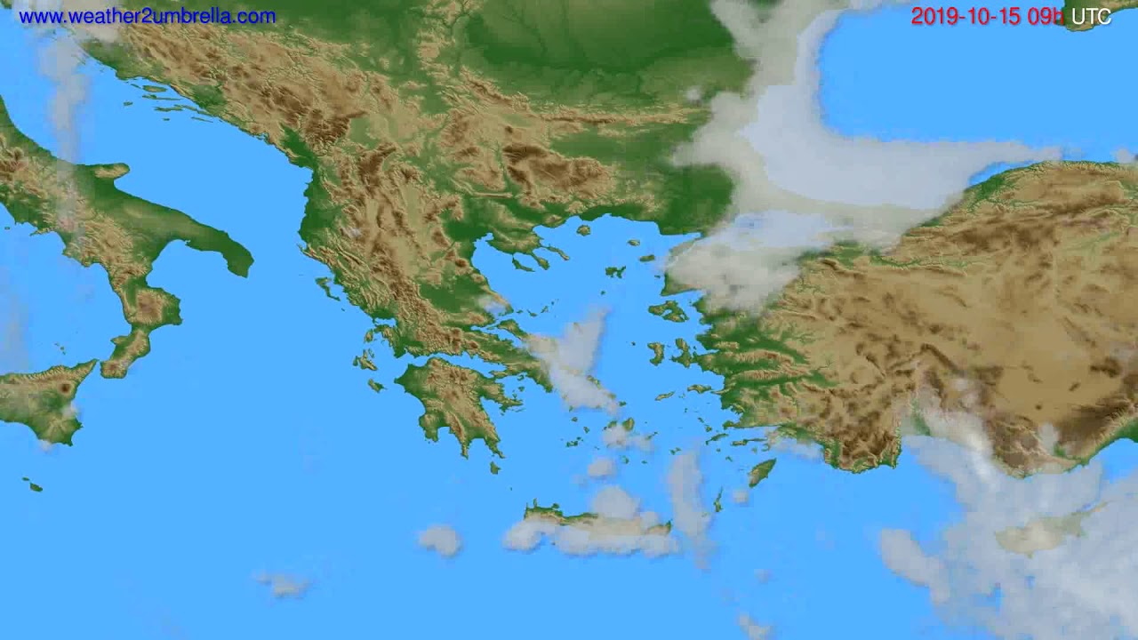 Cloud forecast Greece // modelrun: 12h UTC 2019-10-13