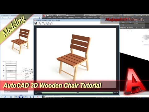 Autocad 3D Design Wooden Chair Modeling Tutorial Practice Exercise 52