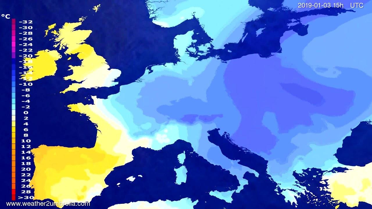 Temperature forecast Europe 2018-12-31