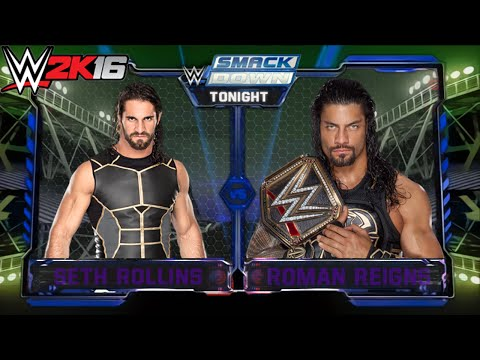 Roman Reigns vs Seth Rollins - WWE Smackdown 16/6/2016 - Epic Match Highlights - WWE 2K16