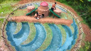 Build The Most Amazing Swimming Pool For Dog - Dog House And Fish Pond For Red Fish - Part 3
