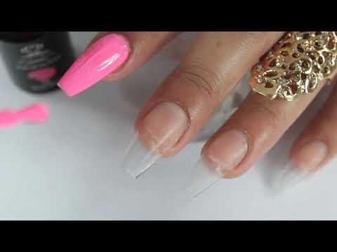 uñas acrilicas bien coloridas bañadas de pixie crystal y como lo realizó y pegó ala uña