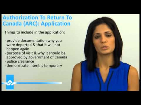 Authorization to Return to Canada ARC Application Video