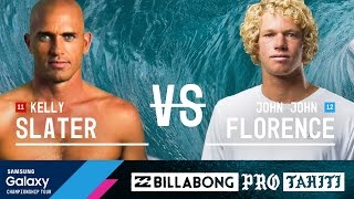 Two of the world's most talented surfers face off in the Final of the Billabong Pro Tahiti 2016: Kelly Slater and John John Florence.