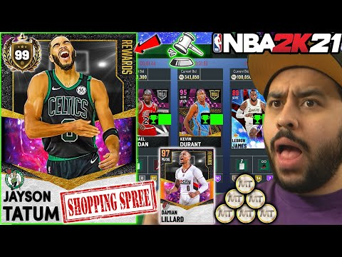 BUYING ALL THE NEW CARDS AND EVERY CARD WE CAN FOR DARK MATTER JAYSON TATUM IN NBA 2K21 MYTEAM