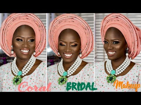 CORAL YORUBA BRIDAL MAKEUP AND GELE TUTORIAL