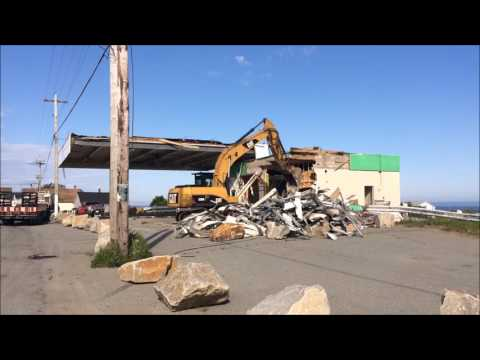 Demolition of the old Irving gas station in Meteghan, NS