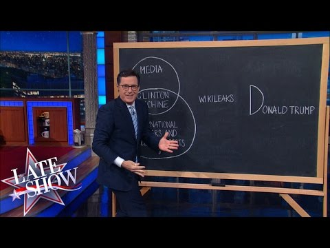 Stephen Colbert Draws a Diagram to Explain All the Conspiracies Against Donald