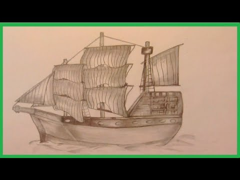 altes Segelschiff, zeichnen im Zeitraffer (old sailing ship, drawing in fast motion)[HD]
