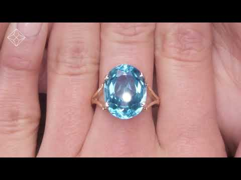 A3440 - BLUE TOPAZ 11.70CT 9K YELLOW GOLD RING