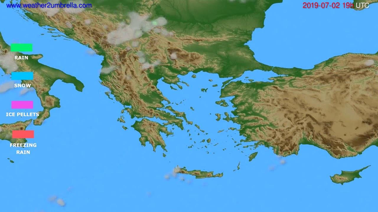 Precipitation forecast Greece // modelrun: 12h UTC 2019-06-29
