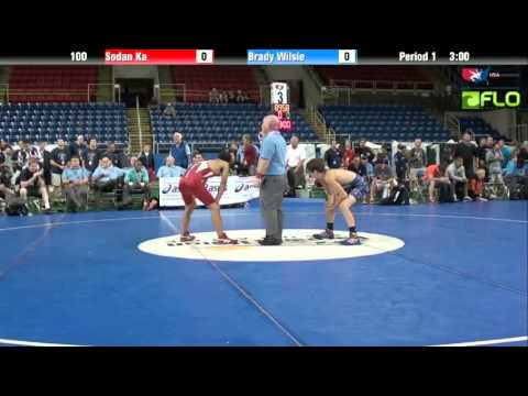 SODAN - RR1 match of the 2013 USAW Junior Freestyle Nationals with Sodan Ka from Minnesota vs Brady Wilsie from Illinois at 100 lbs. Copyright USA Wrestling 2012. Te...