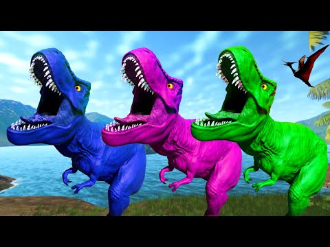 Dinosaur T Rex and Big Dinosaurs Fighting,  Spinosaurus vs I Rex - Jurassic World Evolution