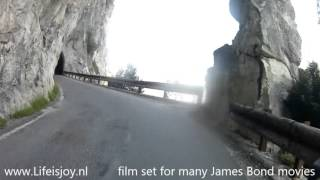 Garda Italy  city photo : Strada della Forra lake Garda Italy, narrow road straight through rocks on BMW R1200GS motorbikes