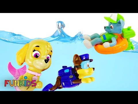 Paw Patrol Skye & Chase Scuba Dives with Rocky in Swimming pool