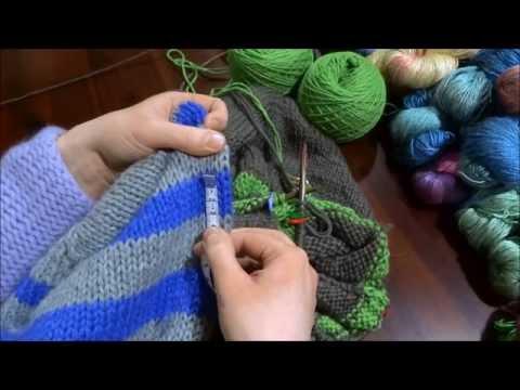 RVO – Raglan von oben Pullover stricken mit Rund-Ausschnitt u Streifen (Teil 4 von 8)