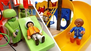 Be Careful on The Playground~! PLAYMOBIL Playground & Hospital Toys Play