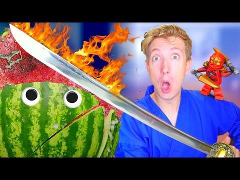 5 Lego Ninjago Weapons vs Fruit Ninja