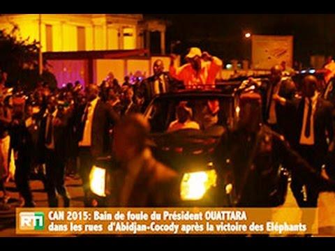 RTI: CAN 2015/Victoire des Eléphants: Bain de foule du Président Ouattara dans les rues de Cocody
